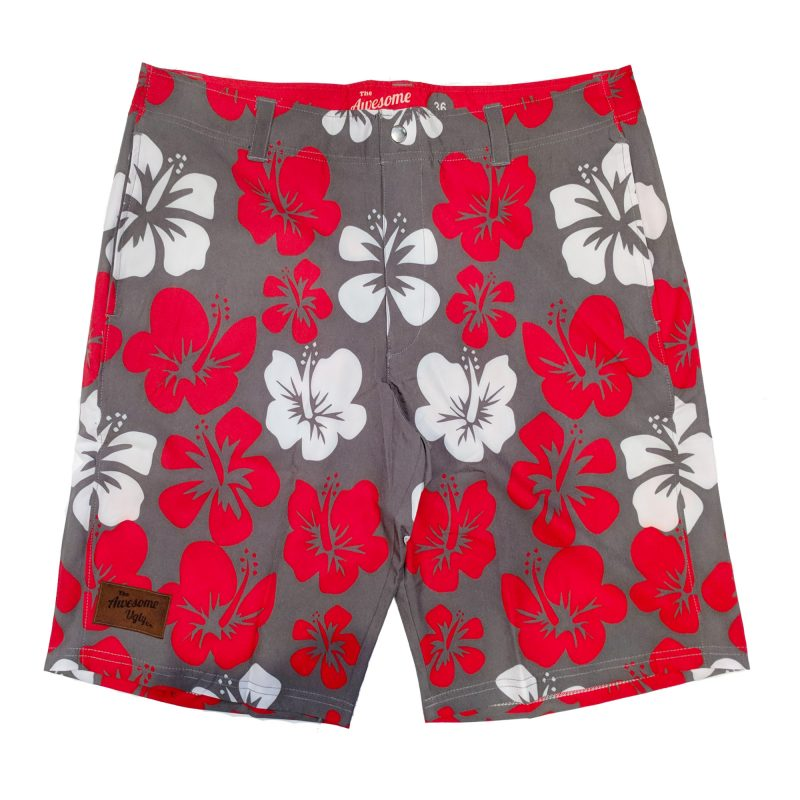 Grey & Red Hibiscus Casual Shorts – Mens