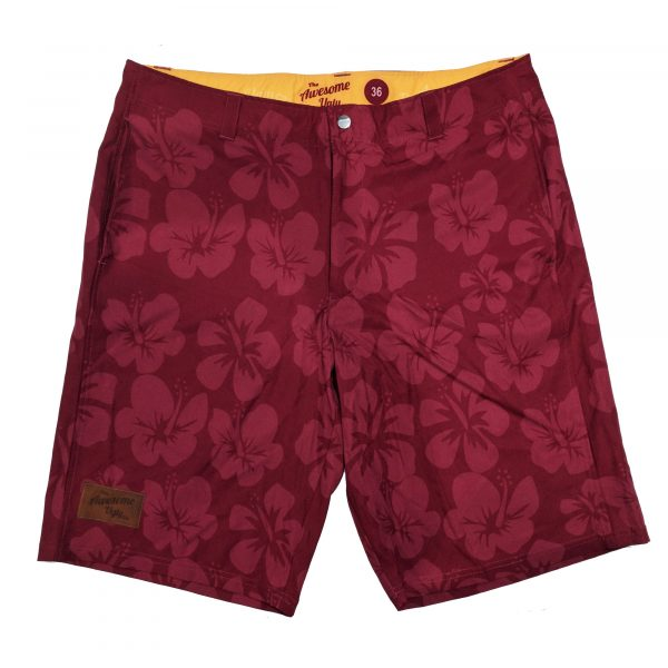 Maroon Hibiscus Casual Shorts – Mens