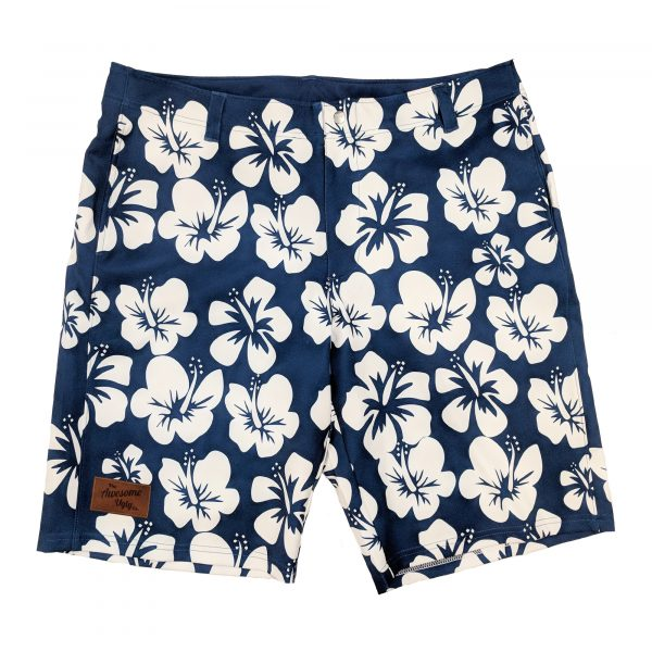 Navy Hibiscus Casual Shorts – Mens